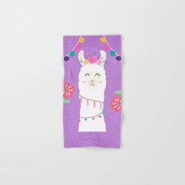 Happy Boho Llama with Pompoms in Purple Hand & Bath Towel