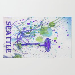 Seattle Space Needle Watercolor Rug