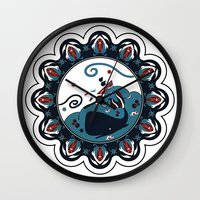 the whale Wall Clocks featuring whale by gazonula