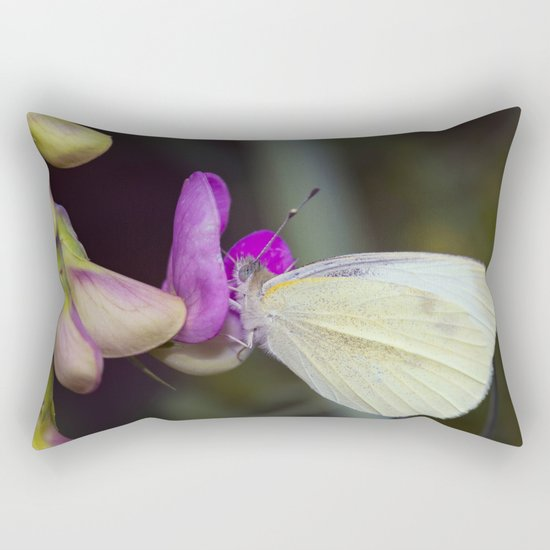 White Butterfly Rectangular Pillow