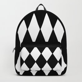 LARGE BLACK AND WHITE HARLEQUIN DIAMOND PATTERN Backpack