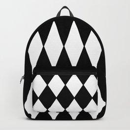 LARGE BLACK AND WHITE HARLEQUIN DIAMOND PATTERN Backpack