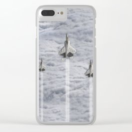 F22 Stealth Fighters Climbing in Clouds Clear iPhone Case