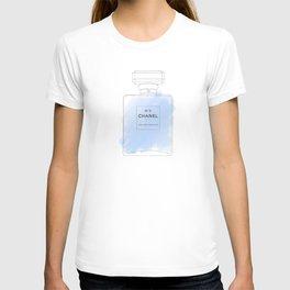 blue watercolor perfume T-shirt