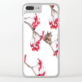 Cute Squirrel With Red Rowan Berries On A White Background #decor #society6 #buyart Clear iPhone Case