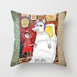 Girl & Wolf Throw Pillow