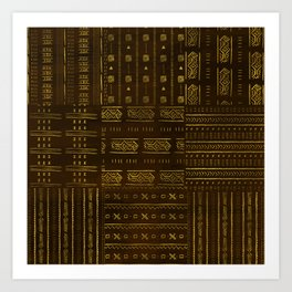 Gold African Tribal Pattern on rich brown texture Art Print