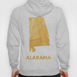 Alabama map outline Sunny yellow watercolor Hoody