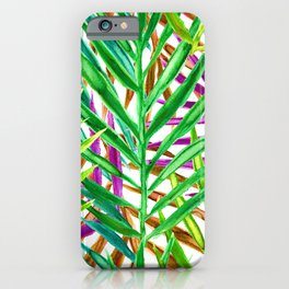 Rainbow Watercolor Palm Leaves in White iPhone Case