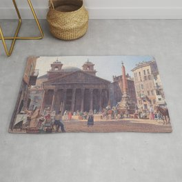 The Pantheon And The Piazza Della Rotonda In Rome 1835 by Rudolf von Alt | Reproduction Rug
