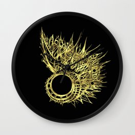 GOLDEN CURL - SHINING PAINTING ON BLACK BACKGROUND Wall Clock