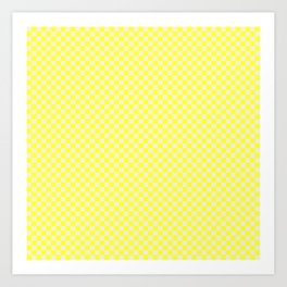 Canary Yellow and Cream Checkerboard Squares Art Print