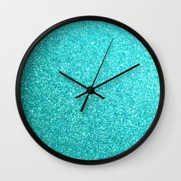 Aqua Blue Glitter Wall Clock