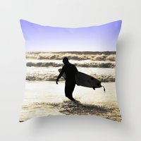 surfing Throw Pillows featuring Surfing  by  Alexia Miles photography