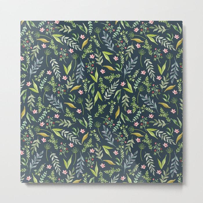 Floral blue pattern. Watercolor Metal Print