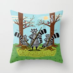Raccoons Playing Bassoons Throw Pillow