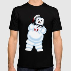 Scared Mr. Stay Puft Mens Fitted Tee Black MEDIUM
