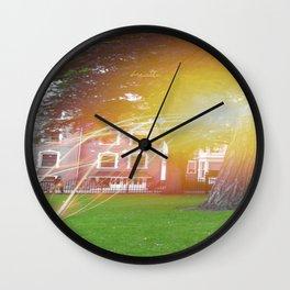 Nature sun burst, 'breathe' quote Wall Clock