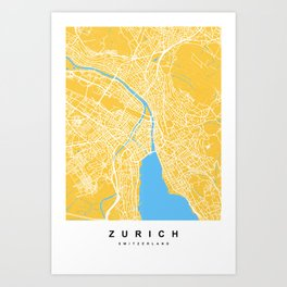 Zurich - Switzerland | Yellow & Blue Color Art Print