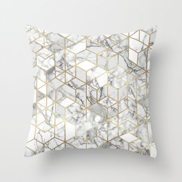 White marble geomeric pattern in gold frame Throw Pillow