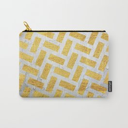 Brick Pattern 1 in Gold and Silver Carry-All Pouch