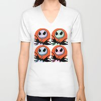 jack skellington V-neck T-shirts featuring Jack Skellington Pixel Art by Katersbonneville