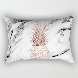 Pineapple Rose Gold Marble Rectangular Pillow
