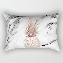 Pineapple Rose Gold Marble Rectangular Pillow