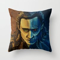 loki Throw Pillows featuring Loki by Sara Cooley