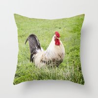 cock Throw Pillows featuring cock by Garpa
