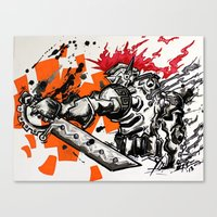 gladiator Canvas Prints featuring Steampunk Gladiator  by RISE Arts