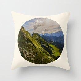 Green Musical Mountains Round Photo Frame Throw Pillow