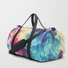 Geometry Triangle Wave Multicolor Mosaic Pattern - (HDR - Low Poly Art) - FULL Duffle Bag