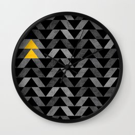 Triangle -Yellow and Grey Wall Clock