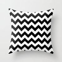chevron Throw Pillows featuring Chevron (Black/White) by 10813 Apparel