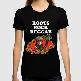 Roots Rock Reggae   Jamaican Rasta Stoner Roots and Spliff Culture T-shirt