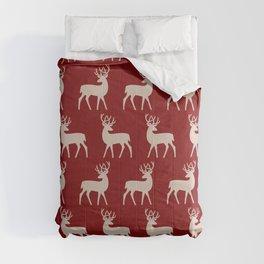 Mid Century Modern Deer Pattern Maroon and Beige Comforters