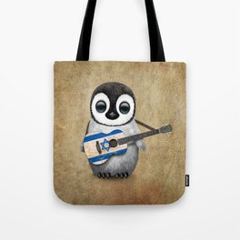 Baby Penguin Playing Israeli Flag Acoustic Guitar Tote Bag