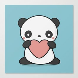 Kawaii Cute Panda With Heart Canvas Print