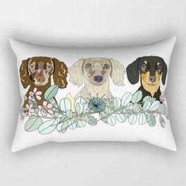 Triple Dachshunds Floral Rectangular Pillow