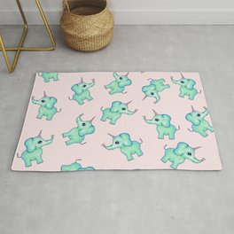 Cute Mythical Girly Unicorn Elephants and Hearts Illustration Rug