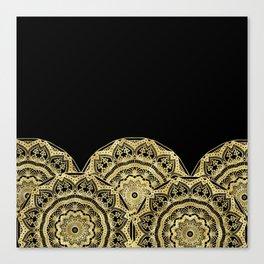Golden Mandalas on Black Canvas Print