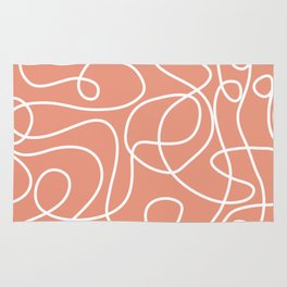 Doodle Line Art | White Lines on Coral Background Rug