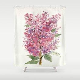 Pink Lilacs Floral Watercolor Garden Flower Nature Art Shower Curtain