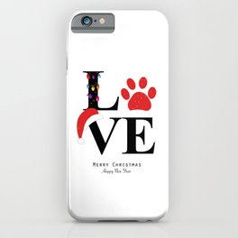 Love text with paw print and colorful light bulb iPhone Case