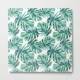 Watercolor leaves botanical illustration Monster seamless pattern Metal Print