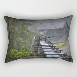 The Old Mingus Mill and Flume in the Great Smoky Mountain National Park in Tennessee Rectangular Pillow