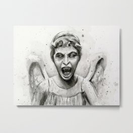 Weeping Angel Watercolor Metal Print