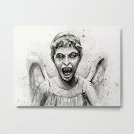 Weeping Angel Watercolor Doctor Who Art Metal Print