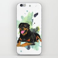 rottweiler iPhone & iPod Skins featuring Rottweiler happy by Cami Landia